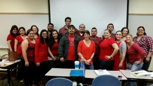 Students at Imperial Valley Campus all wearing red in a class room to Go Red for Women
