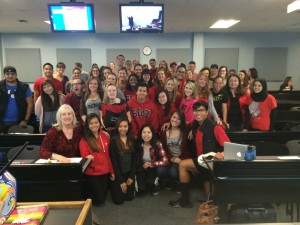 students in Nursing 400 wearing red for American Heart Association Go Red for Women 2015