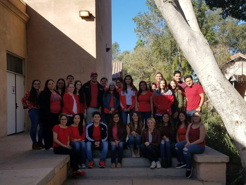 Imperial Valley campus N400 students wearing red on Wear Red Day 2018