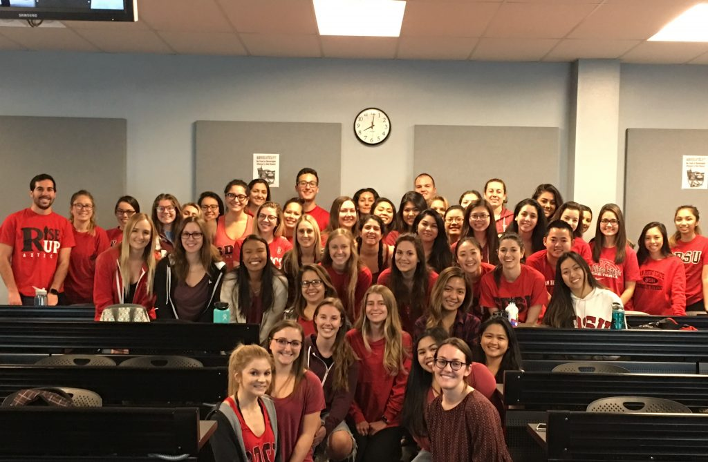San Diego campus N400 students wearing red for Wear Red Day 2018